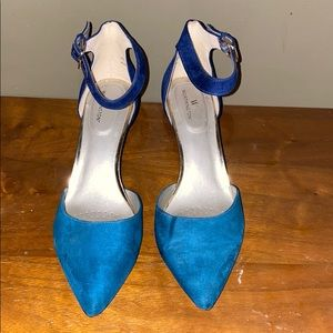 Low Heel Teal Pumps with Ankle Strap